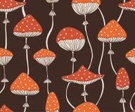 Διανυσματικό άνευ ραφής σχέδιο με τα χαριτωμένα κόκκινα amanita μύγα-αγαρικών μανιτάρια Σχέδιο ταπετσαριών ή υφάσματος ύφους Dood Στοκ φωτογραφία με δικαίωμα ελεύθερης χρήσης