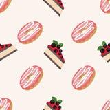 Διανυσματικό άνευ ραφής σχέδιο με τα donuts με το λούστρο και τα κέικ με τα μούρα σε ένα άσπρο υπόβαθρο Στοκ φωτογραφίες με δικαίωμα ελεύθερης χρήσης