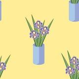 Διανυσματικό άνευ ραφής σχέδιο με τις ανθοδέσμες των λουλουδιών ίριδων στο μπλε βάζο Στοκ εικόνα με δικαίωμα ελεύθερης χρήσης
