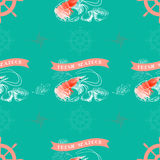 Διανυσματικό άνευ ραφής σχέδιο με τις γαρίδες, λεμόνι, φρέσκα θαλασσινά λέξεων Στοκ εικόνα με δικαίωμα ελεύθερης χρήσης