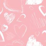 Διανυσματικό άνευ ραφής σχέδιο με τις καλλιγραφικές καρδιές βουρτσών Στοκ εικόνες με δικαίωμα ελεύθερης χρήσης
