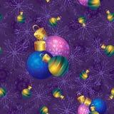 Διανυσματικό άνευ ραφής σχέδιο με τις ομάδες χρωματισμένων σφαιρών Χριστουγέννων Στοκ Εικόνα