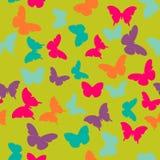 Διανυσματικό άνευ ραφής σχέδιο με τις τυχαίες πορτοκαλιές, μπλε, ρόδινες, πορφυρές πεταλούδες στο πράσινο υπόβαθρο Στοκ εικόνα με δικαίωμα ελεύθερης χρήσης