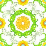 Διανυσματικό άνευ ραφής σχέδιο με τις floral πράσινες διακοσμήσεις Η περίκομψη Flor Στοκ Φωτογραφίες
