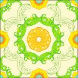 Διανυσματικό άνευ ραφής σχέδιο με τις floral πράσινες διακοσμήσεις περίκομψος Στοκ Φωτογραφία