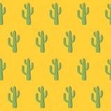Διανυσματικό άνευ ραφής σχέδιο με τον πράσινο μεξικάνικο κάκτο Στοκ Φωτογραφίες