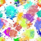 Διανυσματικό άνευ ραφής σχέδιο με τους λεκέδες μελανιού watercolor και τα κτυπήματα βουρτσών Στοκ φωτογραφία με δικαίωμα ελεύθερης χρήσης