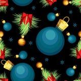 Διανυσματικό άνευ ραφής σχέδιο με τους κλάδους έλατου και τις σφαίρες Χριστουγέννων Στοκ Φωτογραφία