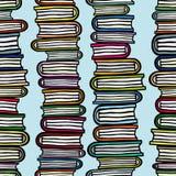 Διανυσματικό άνευ ραφής σχέδιο με τους σωρούς των ζωηρόχρωμων βιβλίων Στοκ Φωτογραφία