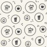 Διανυσματικό άνευ ραφής σχέδιο με το εικονίδιο καφέ ελεύθερη απεικόνιση δικαιώματος