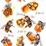 Διανυσματικό άνευ ραφής σχέδιο με το μέλι και τη χτένα μελισσών απεικόνιση αποθεμάτων