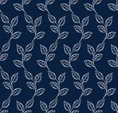 Διανυσματικό άνευ ραφής σχέδιο με το φύλλο μπλε λευκό ανασκόπησης Στοκ φωτογραφία με δικαίωμα ελεύθερης χρήσης