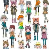 Διανυσματικό άνευ ραφής σχέδιο με το χαριτωμένο κορίτσι hipster απεικόνιση αποθεμάτων