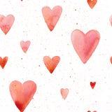 Διανυσματικό άνευ ραφής σχέδιο με χρωματισμένες τις χέρι καρδιές watercolor απεικόνιση αποθεμάτων