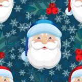 Διανυσματικό άνευ ραφής σχέδιο με snowflakes και Άγιο Βασίλη Στοκ Εικόνες