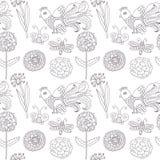 Διανυσματικό άνευ ραφής σχέδιο λουλουδιών πουλιών ελεύθερη απεικόνιση δικαιώματος