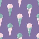 Διανυσματικό άνευ ραφής σχέδιο παγωτού στα λεπτά, τρυφερά χρώματα, ροζ, τυρκουάζ, βιολέτα, πράσινη Στοκ Φωτογραφία