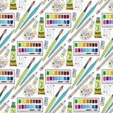 Διανυσματικό άνευ ραφής σχέδιο προμηθειών τέχνης κινούμενων σχεδίων doodles συρμένο χέρι Σχολικό υπόβαθρο Στοκ φωτογραφία με δικαίωμα ελεύθερης χρήσης