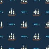 Διανυσματικό άνευ ραφής σχέδιο σκαφών και φαλαινών Υπόβαθρο ωκεανών ή θάλασσας Στοκ Εικόνες