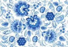 Διανυσματικό άνευ ραφής σχέδιο στο παραδοσιακό ρωσικό ύφος gzhel Στοκ εικόνες με δικαίωμα ελεύθερης χρήσης