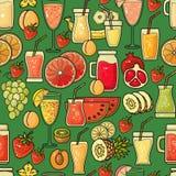 Διανυσματικό άνευ ραφής σχέδιο συρμένου του χέρι ζωηρόχρωμου εικονιδίου χυμού φρούτων Στοκ Εικόνες
