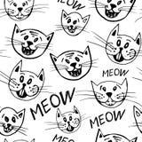 Διανυσματικό άνευ ραφής σχέδιο των αστείων προσώπων γατών κινούμενων σχεδίων Στοκ φωτογραφία με δικαίωμα ελεύθερης χρήσης