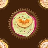 Διανυσματικό άνευ ραφής σχέδιο των εύγευστων κέικ Στοκ Εικόνα