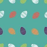 Διανυσματικό άνευ ραφής σχέδιο των ζωηρόχρωμων και περίκομψων αυγών Πάσχας Φρέσκο και σχέδιο άνοιξη για τις ευχετήριες κάρτες, κλ Στοκ Εικόνες