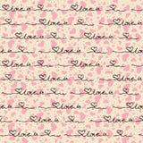 Διανυσματικό άνευ ραφής σχέδιο των καρδιών με τις λέξεις Στοκ Φωτογραφία