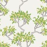 Διανυσματικό άνευ ραφής σχέδιο των κλάδων δέντρων με Στοκ Φωτογραφίες