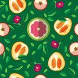 Διανυσματικό άνευ ραφής σχέδιο των φύλλων και φέτες των φρούτων Στοκ εικόνες με δικαίωμα ελεύθερης χρήσης