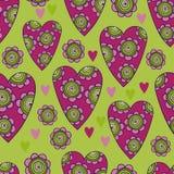 Διανυσματικό άνευ ραφής σχέδιο των όμορφων καρδιών με τα λουλούδια Το καλύτερο για την ημέρα των βαλεντίνων, το γάμο και το σχέδι Στοκ Εικόνες