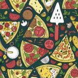 Διανυσματικό άνευ ραφής σχέδιο φετών πιτσών Συρμένη χέρι απεικόνιση πιτσών Μεγάλος για τις επιλογές ή το υπόβαθρο ελεύθερη απεικόνιση δικαιώματος
