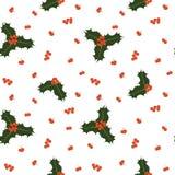 Διανυσματικό άνευ ραφής σχέδιο Χριστουγέννων με τα μούρα και τα φύλλα ελαιόπρινου Στοκ εικόνες με δικαίωμα ελεύθερης χρήσης
