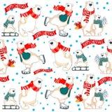 Διανυσματικό άνευ ραφής σχέδιο Χριστουγέννων με τις πολικές αρκούδες διανυσματική απεικόνιση