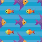 Διανυσματικό άνευ ραφής σχέδιο ψαριών Υπόβαθρο ωκεανών ή ενυδρείων Στοκ εικόνα με δικαίωμα ελεύθερης χρήσης