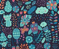 Διανυσματικό άνευ ραφής σχέδιο, doodling σχέδιο Το χέρι σύρει τα λουλούδια και βγάζει φύλλα Απεικόνιση παιδιών, χαριτωμένο υπόβαθ Στοκ Εικόνες