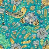 Διανυσματικό άνευ ραφής σχέδιο, doodling σχέδιο Το χέρι σύρει τα λουλούδια και βγάζει φύλλα Απεικόνιση παιδιών, χαριτωμένο υπόβαθ Στοκ φωτογραφίες με δικαίωμα ελεύθερης χρήσης