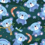 Διανυσματικό άνευ ραφής σχέδιο koala ύφους κινούμενων σχεδίων ελεύθερη απεικόνιση δικαιώματος