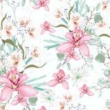 Διανυσματικό άνευ ραφής τροπικό σχέδιο, με το λουλούδι ορχιδεών παραδείσου στην άνθιση ελεύθερη απεικόνιση δικαιώματος