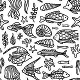 Διανυσματικό άνευ ραφής υποβρύχιο ωκεάνιο σχέδιο doodles Στοκ εικόνες με δικαίωμα ελεύθερης χρήσης