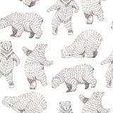 Διανυσματικό άνευ ραφής υπόβαθρο με συρμένες τις χέρι αστείες αρκούδες Σχέδιο Hipster απεικόνιση αποθεμάτων