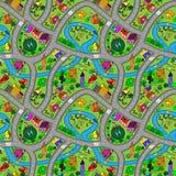 Διανυσματικό άνευ ραφής υπόβαθρο με τους δρόμους και τα αυτοκίνητα κινούμενων σχεδίων Στοκ Φωτογραφίες