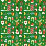 Διανυσματικό άνευ ραφής υπόβαθρο σχεδίων Χριστουγέννων για σχέδιο εορτασμού χειμερινού το νέο έτους ευχετήριων καρτών διανυσματική απεικόνιση