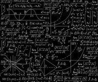 """Διανυσματικό άνευ ραφής υπόβαθρο Math με τις εξισώσεις, τύποι και γεωμετρικοί αριθμοί, """"χειρόγραφος με την κιμωλία στον πίνακα """" ελεύθερη απεικόνιση δικαιώματος"""