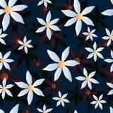 Διανυσματικό άνευ ραφής chamomile μπλε σχέδιο διανυσματική απεικόνιση