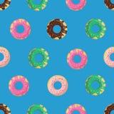 Διανυσματικό άνευ ραφής doughnut ή doughnut σχέδιο Σχέδιο για τις κάρτες, επιλογές, κλωστοϋφαντουργικό προϊόν, ύφασμα Στοκ φωτογραφία με δικαίωμα ελεύθερης χρήσης