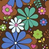 Διανυσματικό άνευ ραφής floral αναδρομικό υπόβαθρο υφάσματος Στοκ Εικόνες