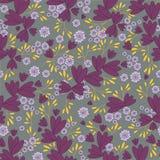 Διανυσματικό άνευ ραφής floral σχέδιο στο γκρίζο υπόβαθρο Σχέδιο φύλλων και λουλουδιών απεικόνιση αποθεμάτων