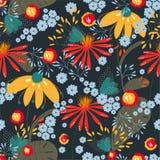 Διανυσματικό άνευ ραφής floral σχέδιο στο σκοτεινό χρωματισμένο υπόβαθρο Σύσταση, υπόβαθρο, ταπετσαρία ελεύθερη απεικόνιση δικαιώματος